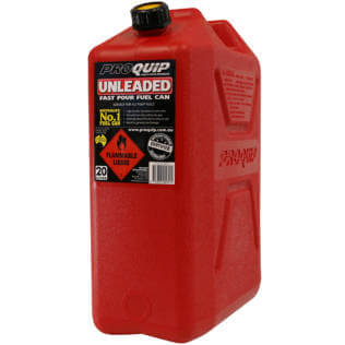 20L Red Plastic Unleaded Fuel Can with Pourer Front