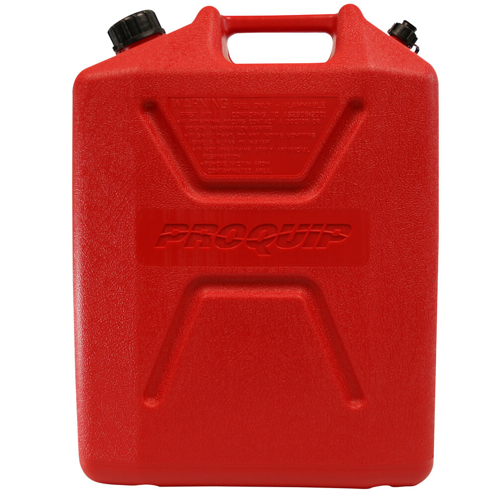 20L Red Plastic Unleaded Fuel Can with Pourer Side