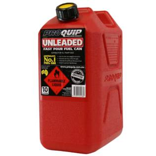 10L Red Plastic Unleaded Fuel Can Front
