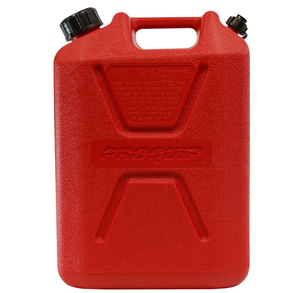 10L Red Plastic Unleaded Fuel Can Side