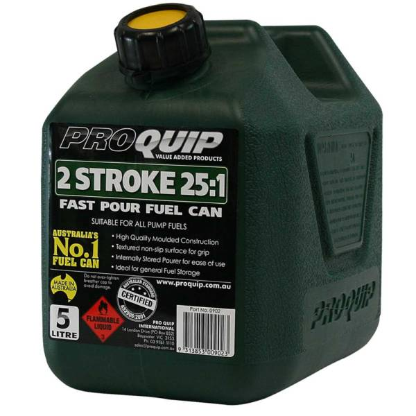 5L Dark Green Plastic Can for 2 Stroke 25:1 Fuel with Pourer Front