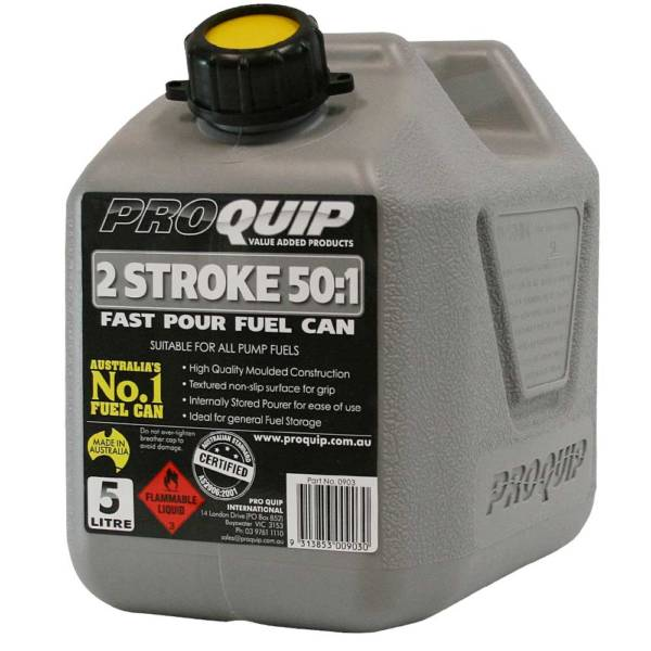 5L Grey Plastic Can for 2 Stroke 50:1 Fuel with Pourer Front