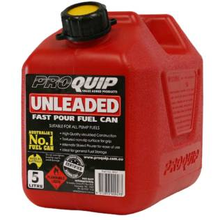 5L Red Plastic Unleaded Fuel Can with Pourer Front