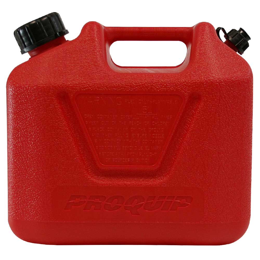 5L Red Plastic Unleaded Fuel Can with Pourer Side