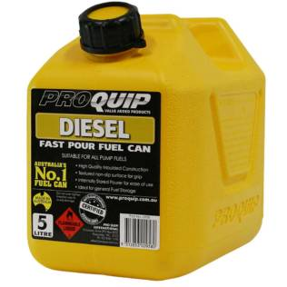 5L Yellow Plastic Diesel Fuel Can with Pourer Front