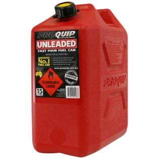15L Red Plastic Unleaded Fuel Can Front