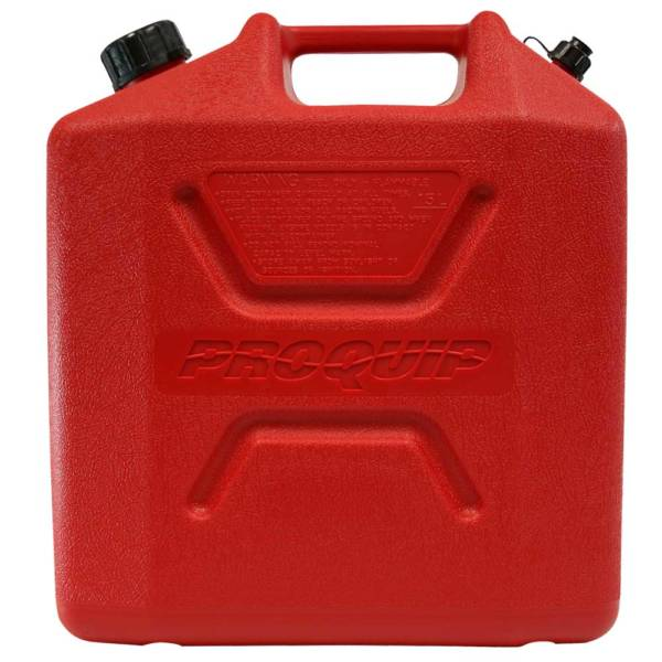 15L Red Plastic Unleaded Fuel Can Side