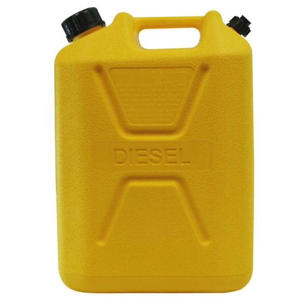 10L Yellow Plastic Diesel Fuel Can Side