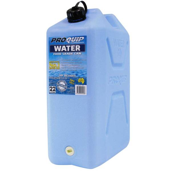 22L Light Blue Plastic Water Jerry Can with Tap Front