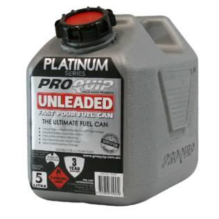5L Platinum Plastic Fuel Can with Unleaded Pourer Front