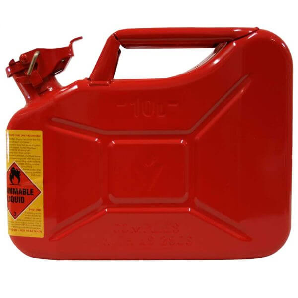 10L Unleaded AFAC Metal Jerry Can Side