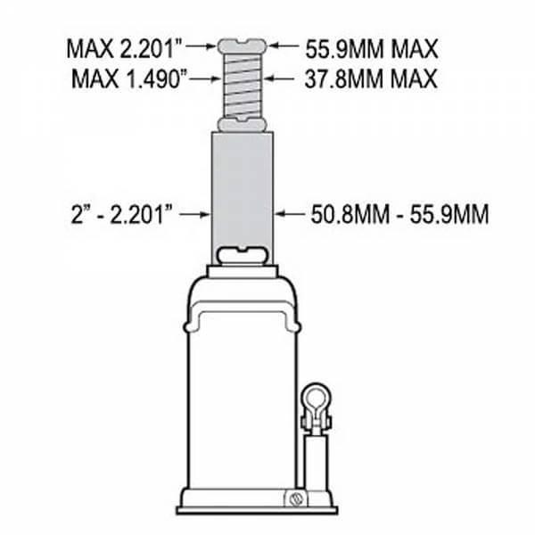 Safe Jack Bottle Jack Extension Screw Collar for 20 Ton Jacks Diagram
